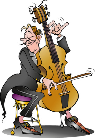 Vector cartoon illustration of a classic cello player Ilustração