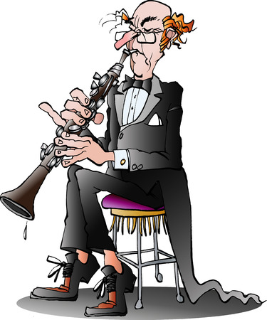 Vector cartoon illustration of a classic clarinet player