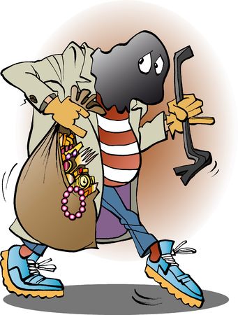 Vector illustration cartoon of a thief in action