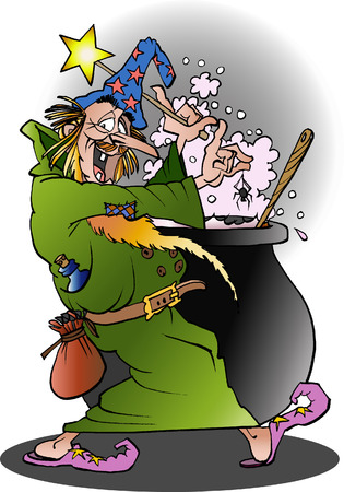 Vector cartoon illustration of a Wizard in action