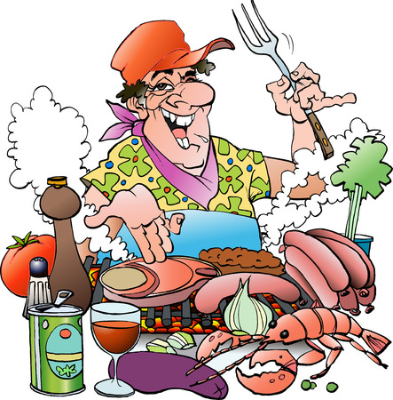 Vector cartoon illustration of a Grillmaster inviting to a grill party Vettoriali