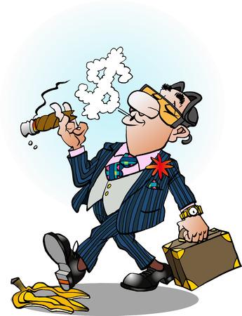 Vector cartoon illustration of a confident business man sliding on a banana peel Vettoriali