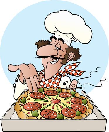 mature men: Vector cartoon illustration of a pizza baker Illustration