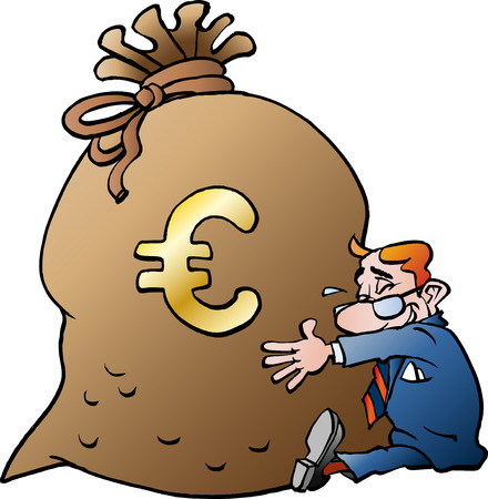 Vector cartoon illustration of a businessman hugging a sack of money Euro