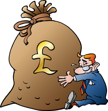 Vector cartoon illustration of a businessman hugging a sack of money Pound Ilustração