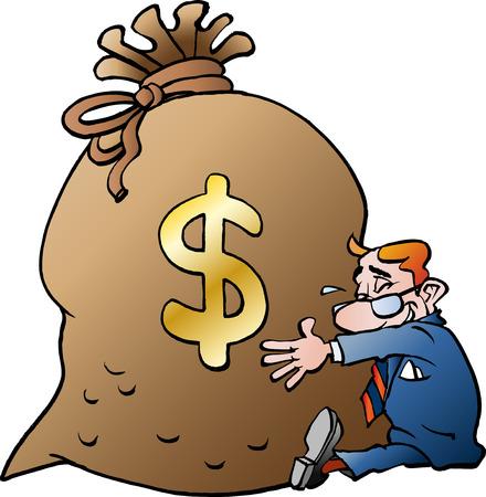 Vector cartoon illustration of a businessman hugging a sack of money dollar