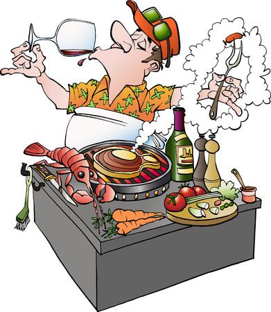 Vector cartoon illustration of a grillmaster tasting vine