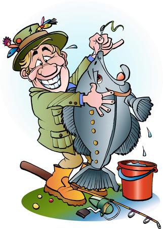 angler: Vector cartoon illustration of a happy angler