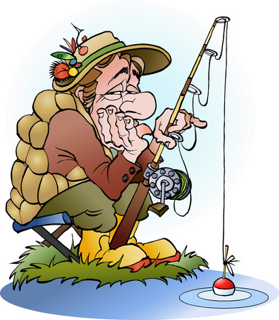 Vector cartoon illustration of a disappointed angler