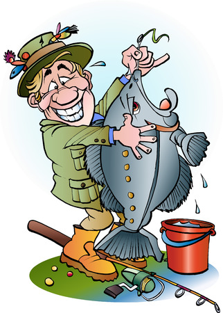 Vector cartoon illustration of a happy angler
