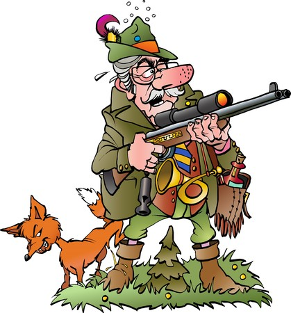 Vector cartoon illustration of a old foolish hunter