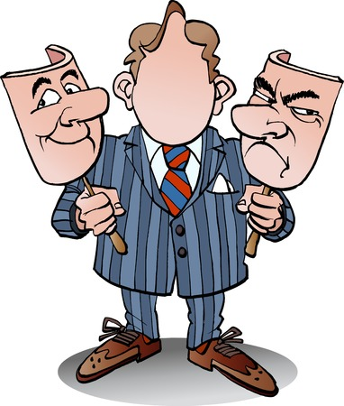 Vector cartoon illustration of a manager with two face masks