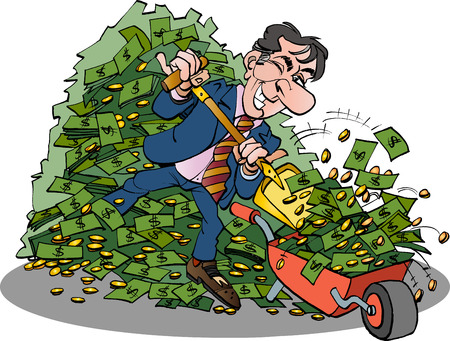 Vector cartoon illustration of a manager with very easy money