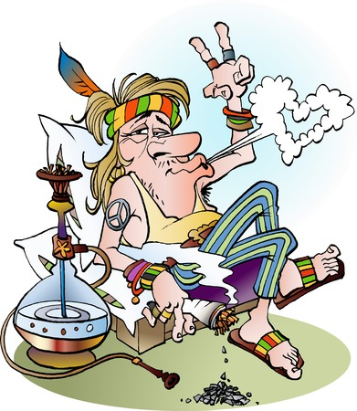 Vector cartoon illustration of a hippie smoking a joint