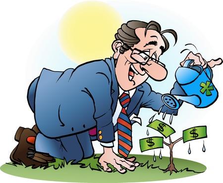 Vector cartoon illustration of a businessman watering a money tree Vettoriali