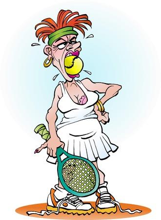 Vector cartoon illustration of an angry tennis girl