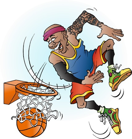 dunking: Vector cartoon illustration of a basketball player dunking
