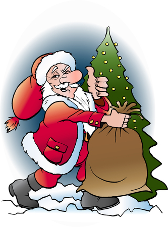 Vector cartoon illustration of Santa Claus with his bag Ilustração