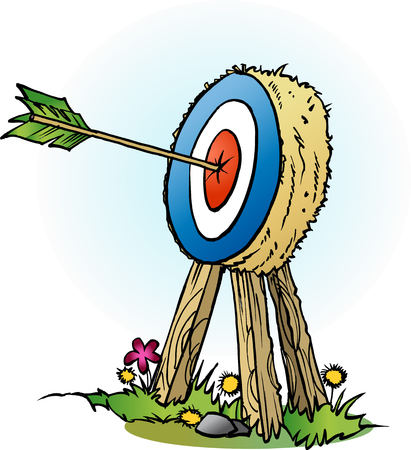 Vector cartoon illustration of an arrow in bulls eye Ilustração