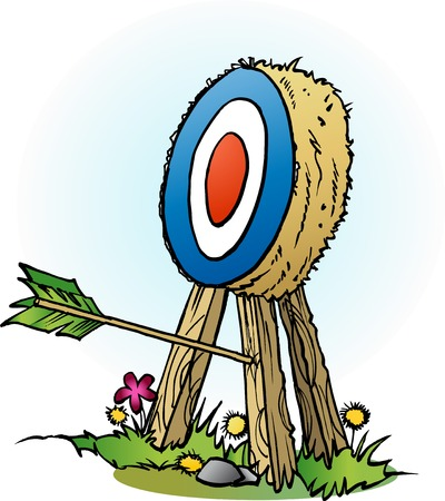 targets: Vector cartoon illustration of an arrow in targets leg