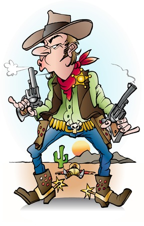 Vector cartoon illustration of a sheriff at work Ilustração