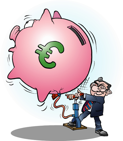 Vector cartoon illustration of a businessman inflated economy Euro