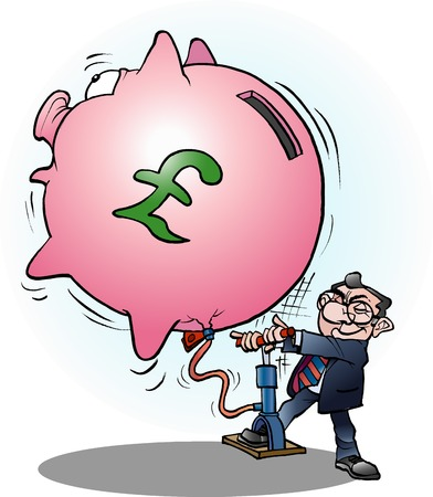 Vector cartoon illustration of a businessman inflated economy Pound