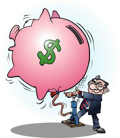 economy: Vector cartoon illustration of a businessman inflated economy dollar