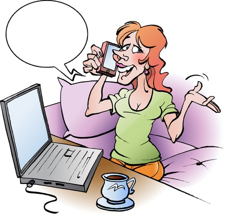 Vector cartoon illustration of a woman talking in cell phone