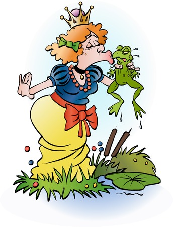 Vector cartoon illustration of a princess kissing a frog Ilustração