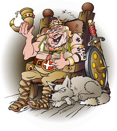 Vector cartoon illustration of the king Harald blue tooth Vettoriali