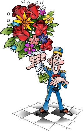 Vector cartoon illustration of a piccolo with flowers