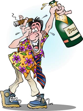 Vector cartoon illustration of a man celebrating crazy Vettoriali