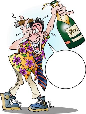 Vector cartoon illustration of a man celebrating crazy with balloon