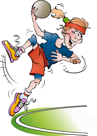 Vector cartoon illustration of a handball girl jumping