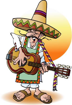 gente loca: Ilustración vectorial de dibujos animados de un guitarrista mexicano