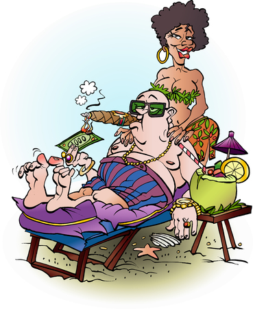 Vector cartoon illustration of a rich man enjoying his wealth