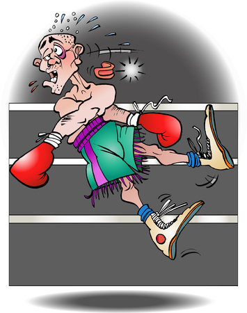Vector cartoon illustration of a boxer knocked out Illustration