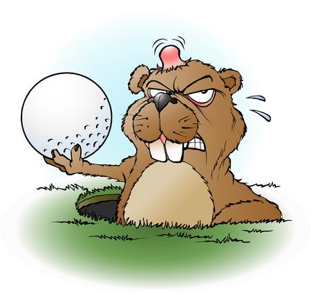 cartoon illustratie van een boze prairiehond met een golfbal Vector Illustratie