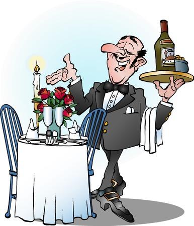 cartoon illustration of a waiter invites to table