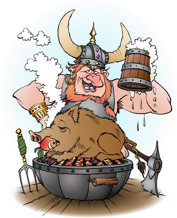 cartoon illustration of a viking invites to party Ilustração