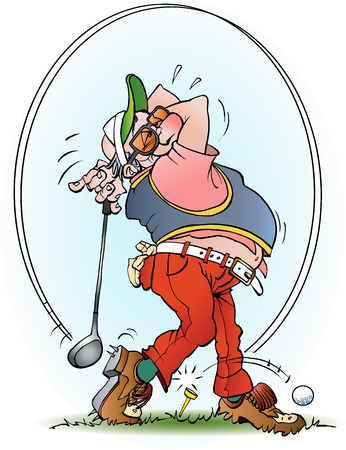 cartoon illustration of a golf player in a strike