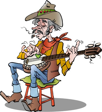 cartoon illustration of a country banjo player Vettoriali
