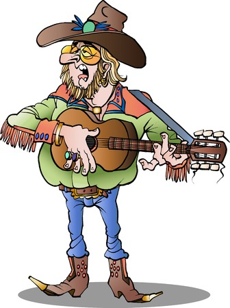 cartoon illustration of a country singer male