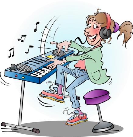 Vector cartoon illustrazione di una tastiera girl playing