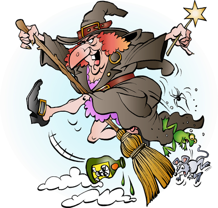 Vector cartoon illustration of a witch riding on her broom