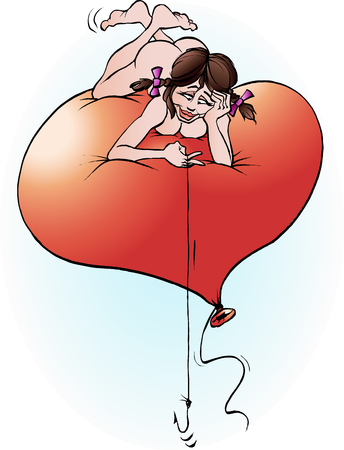 Vector cartoon illustration of a Valentine girl hoping for a catch Illustration