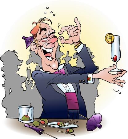 ilustración de dibujos animados de un alcohólico en un cóctel Ilustración de vector