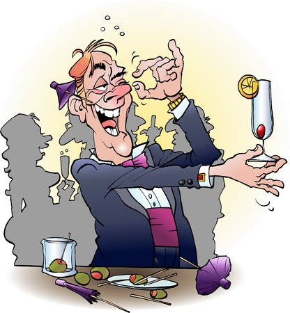 Vector cartoon illustration of an alcoholic at a cocktail party Illustration