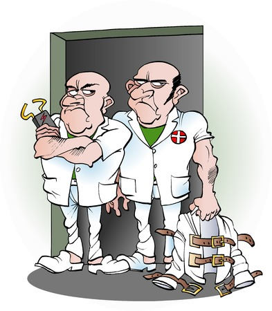 Vector cartoon illustration of two carers from the mental hospital